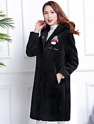 Women's Holiday Going out Simple Winter Coat,Print Hooded Long Sleeve Long Wool