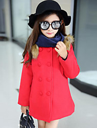cheap -Girls' Patchwork Jacket & Coat,Polyester Winter Fall Long Sleeve Bow Red Fuchsia
