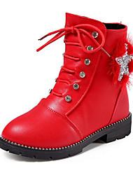 baratos -Para Meninas Sapatos Courino Inverno Conforto / Coturnos Botas para Vermelho / Rosa claro / Vinho