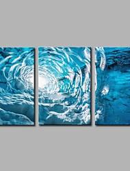 cheap -Hand-Painted Pop Art Horizontal Panoramic,Artistic Nature Inspired Casual Birthday Modern Three Panels Oil Painting