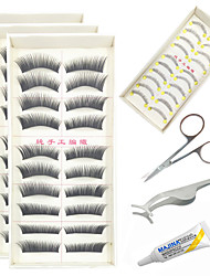 cheap -Eyelashes lash Full Strip Lashes Eyes Thick Fiber Black Band