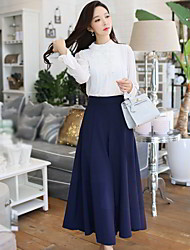 cheap -Women's High Rise Micro-elastic Loose Wide Leg Pants Solid Polyester Spandex Spring Fall