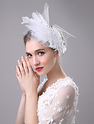 economico -fascinator copricapo in rete piuma elegante stile femminile classico