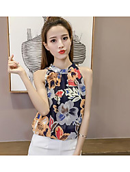 cheap -Women's Daily Going out Sexy Summer Blouse,Print Halter Sleeveless Acrylic Polyester Medium
