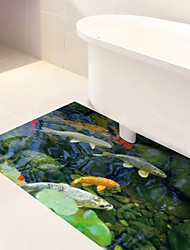 DIY 3D Display Carp Fishes Antiskid Floor Stickers Home Decor PVC Water Tank Stone Floor Anti-slip Ground Decal for Washroom Kids Room 60*120cm