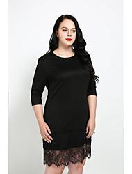 abordables -Femme Grandes Tailles Gaine Robe - Dentelle, Couleur Pleine