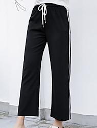 cheap -Women's High Rise Micro-elastic Bootcut Wide Leg Pants,Casual Striped Summer