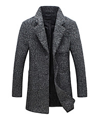 cheap -Men's Daily Simple Casual Winter Fall Long Jacket,Solid Stand Wool Rayon Polyester