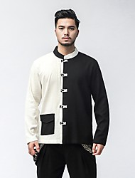 cheap -Men's Daily Plus Size Casual Chinoiserie Spring Fall Shirt,Color Block Classic Collar Long Sleeves Linen Medium