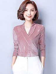 Feminino Camiseta Para Noite Casual Simples Sofisticado Sólido Elastano Decote V Manga Longa Fina