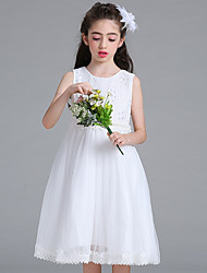 cheap -Ball Gown Knee Length Flower Girl Dress - Organza Sleeveless Jewel Neck with Pearl Detailing Sash / Ribbon Pleats by LAN TING Express