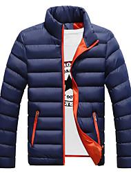 Недорогие -Для мужчин На каждый день Большие размеры Осень Зима Куртка Воротник-стойка,Простой Активный Однотонный Обычная Длинный рукав,Хлопок