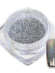 1g / bouteille nail art magnifique argent brillant paillettes poudre arc-en-ciel holographique chrome glisten argent pigment manucure