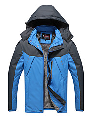 Men's Daily Sports Simple Casual Winter Fall Trench Coat,Color Block Hooded Long Sleeve Regular Polyester
