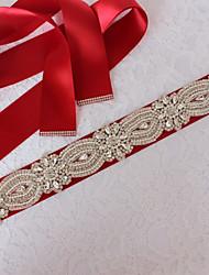 abordables -Satin/ Tulle Métallique Mariage Occasion spéciale Ceinture With Strass Imitation Perle Femme Ceintures