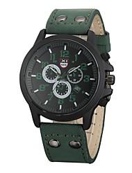 abordables -Hombre Cuarzo Reloj de Pulsera Gran venta Cuero Auténtico Banda Casual Moda Negro Marrón Verde Caqui
