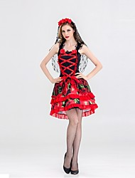 abordables -Squelette / Crâne Mariée fantomatique Tenue Femme Halloween Le jour des morts Fête / Célébration Déguisement d'Halloween Rouge Fleur Rétro