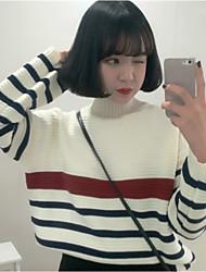 preiswerte -Damen Langarm Pullover-Gestreift Rollkragen