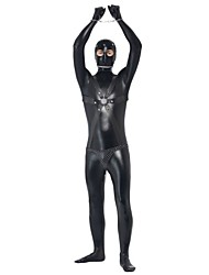 cheap -Prisoner Cosplay Costumes Unisex Halloween Carnival Festival / Holiday Halloween Costumes Black Solid Color