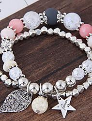cheap -Women's Charm Bracelet Strand Bracelet Multi Layer Fashion Alloy Leaf Star Jewelry Party Daily Costume Jewelry
