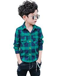 cheap -Boys' Plaid Shirt,Cotton Winter All Seasons Long Sleeve Floral Green Red Gray