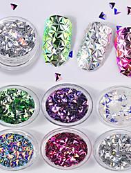 6 farbe 3d dreieck feste form laser bunte pailletten 1 gr / schachtel