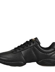 """Women's Dance Sneakers Leatherette Split Sole Sneaker Outdoor Low Heel Black White Under 1"""""""