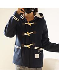 Cappotto Da donna Casual Romantico Autunno Inverno,Con stampe Con cappuccio Cashmere Lana Cotone Standard Manica lunga