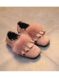 Girls' Shoes Flocking Winter Comfort Loafers & Slip-Ons For Casual Blushing Pink Army Green Black