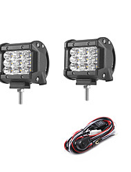 2PCS 27W 2700LM 6000K 3-Rows LED Work Light Cool White Flood Offroad Driving Light for Car/Boat/Headlight IP68 9-32V  2m 1-To-2 Wiring Harness Kit