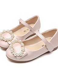 Girls' Shoes Synthetic Microfiber PU Spring Fall Comfort Novelty Flower Girl Shoes Loafers & Slip-Ons Bowknot Rivet Buckle For Wedding