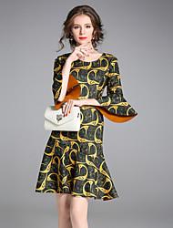 Trapèze Robe Femme Soirée Sortie Chic de Rue Sophistiqué,Motif Animal Col Arrondi Au dessus du genou Demi Manches Polyester Spandex