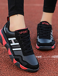 Women's Shoes PU Spring Fall Comfort Athletic Shoes Running Shoes Round Toe Lace-up For Athletic Casual Black/Red Black/White Blue