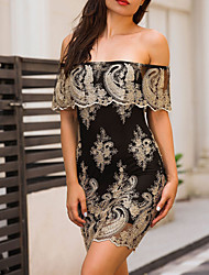 cheap -Women's Club Bodycon Dress - Patchwork Embroidered Mini Off Shoulder / Summer / Fall / Lace / Skinny