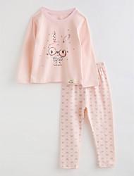 abordables -Vêtements de nuit Fille Bande dessinée Coton Automne Manches Longues Rose Claire