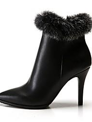 abordables -Mujer Zapatos PU microfibra sintético Cuero Primavera Invierno Botas de Moda Botas Dedo Puntiagudo Botines/Hasta el Tobillo Pluma