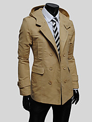 cheap -Men's Simple Vintage Casual Long Cotton Trench Coat-Solid Colored Hooded