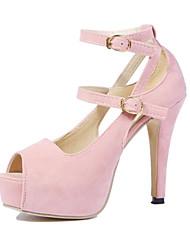 cheap -Women's Sandals Summer Peep Toe PU Casual Stiletto Heel  Nude
