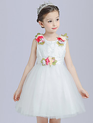 cheap -Ball Gown Princess Knee Length Flower Girl Dress - Satin Tulle Sleeveless Jewel Neck with Flower(s) Sash / Ribbon by Bflower