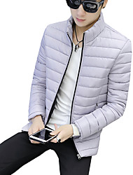 cheap -Men's Regular Padded Coat,Casual Boho Street chic Daily Plus Size Solid Print-Cotton Linen Polyester Long Sleeves