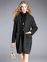 8CFAMILY Women's Going out Casual/Daily Simple Street chic Regular Cardigan,Solid Boat Neck Long Sleeves Wool Acrylic Nylon Winter Medium Thick