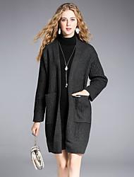 Standard Cardigan Da donna-Per uscire Casual Semplice Moda città Tinta unita A barca Manica lunga Lana Acrilico Nylon Inverno Medio
