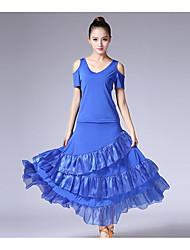 cheap -Ballroom Dance Outfits Women's Performance Organza Milk Fiber Ruffles Short Sleeve Natural Skirts Top