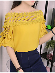 cheap -Women's Going out Cute Cotton Blouse - Solid Colored Boat Neck