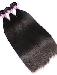 economico -Malese Liscio Capello vergine Ciocche a onde capelli veri 3 pacchetti Tessiture capelli umani Nero Naturale Estensioni dei capelli umani / Dritto
