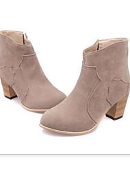 Damen Schuhe Nubukleder PU Herbst Winter Pumps Modische Stiefel Springerstiefel Stiefel Blockabsatz Booties / Stiefeletten Für Normal