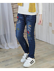 cheap -Girls' Print Jeans,Others Fall Blue