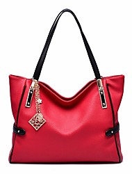 cheap -Women Bags Cowhide Shoulder Bag Zipper for Casual All Seasons Blue Black Red