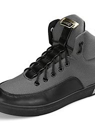 cheap -Men's Shoes PU Spring Fall Driving Shoes Comfort Light Soles Sneakers Lace-up For Casual Outdoor Gray Black