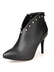 cheap -Women's Shoes PU Leatherette Fall Winter Comfort Novelty Bootie Boots Stiletto Heel Pointed Toe Booties/Ankle Boots Zipper For Party &